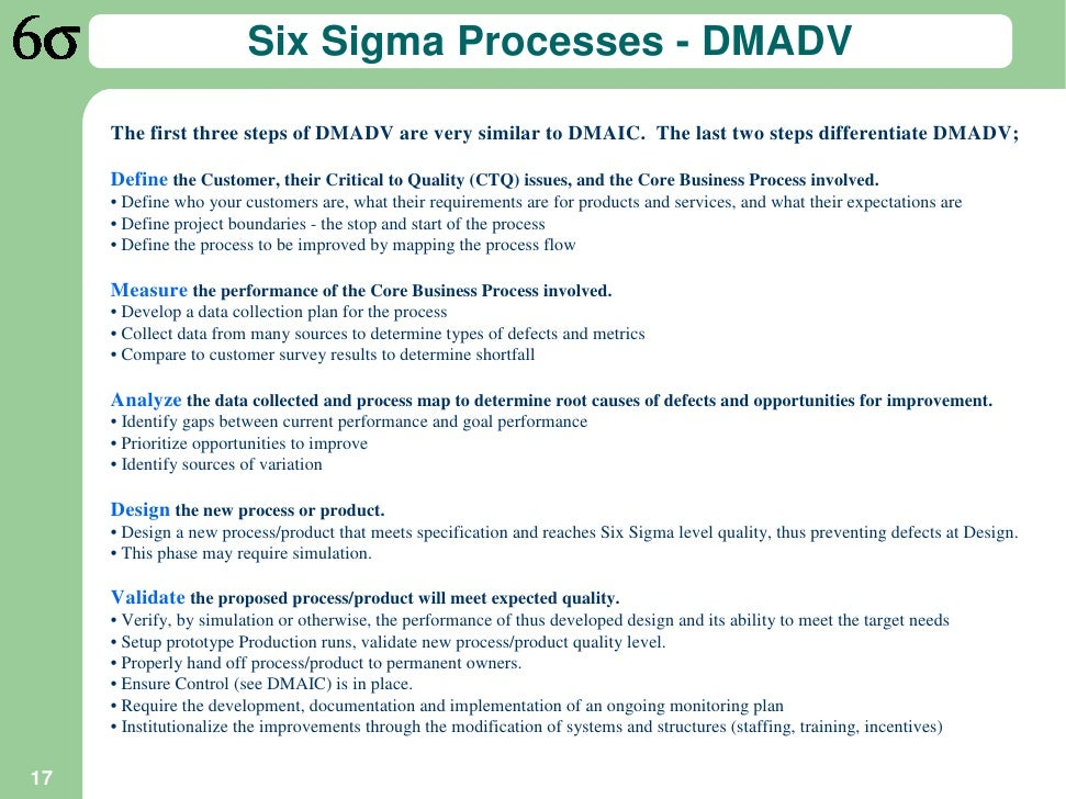 Six Sigma Process Six Sigma Processes Dmadv
