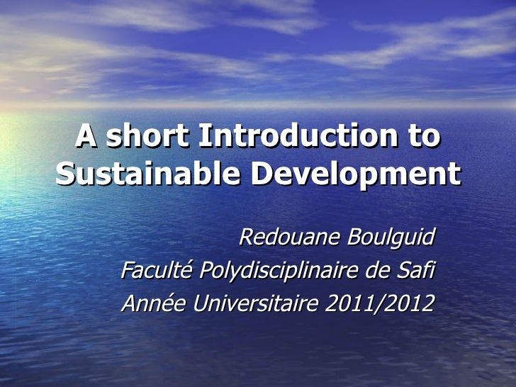 An introduction to sustainable development by redouane boulguid