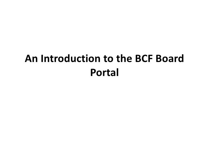 An introduction to the board portal