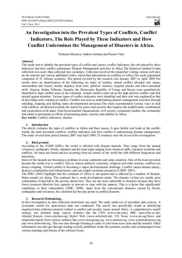 An investigation into the prevalent types of conflicts, conflict indicators