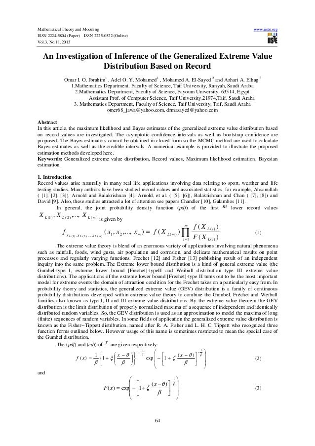 Mathematical Theory and Modeling ISSN 2224-5804 (Paper) ISSN 2225-0522 (Online) Vol.3, No.11, 2013  www.iiste.org  An Inve...