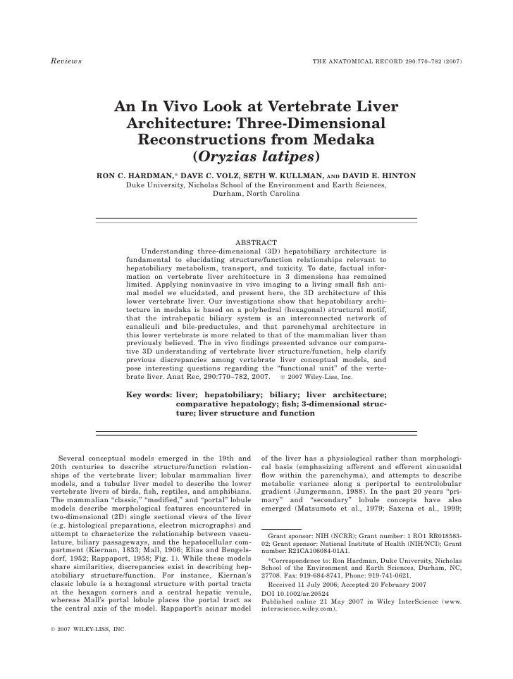 An In Vivo Look at Vertebrate Liver