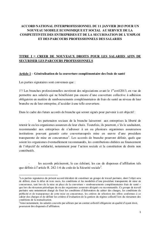 Sécurisation emploi - texte de l'ANI du 11 janvier 2013