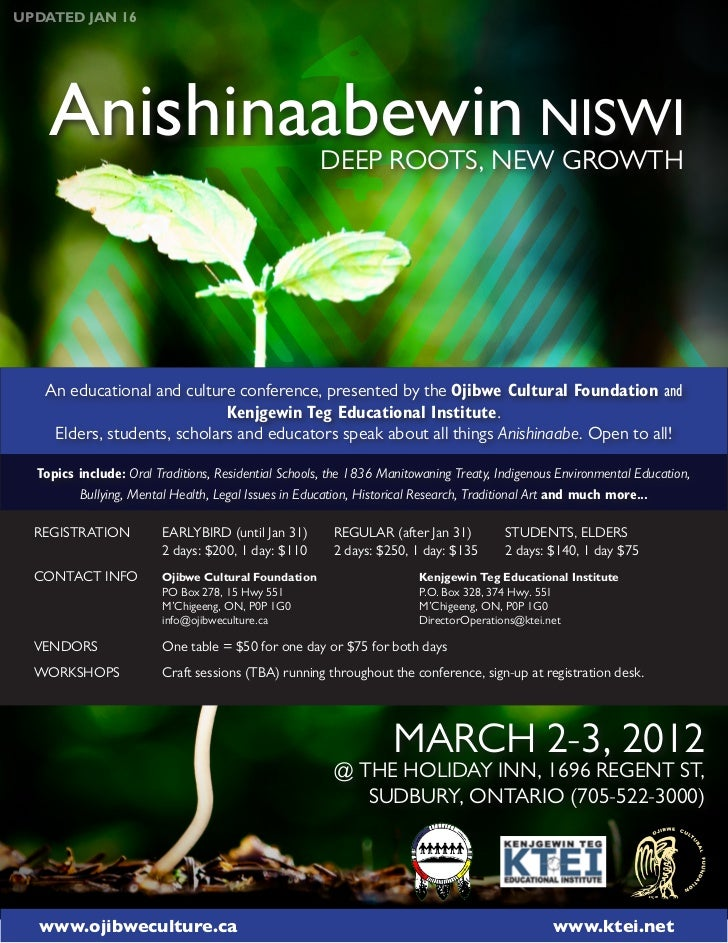 UPDATED JAN 16    Anishinaabewin NISWI                             DEEP ROOTS, NEW GROWTH   An educational and culture con...