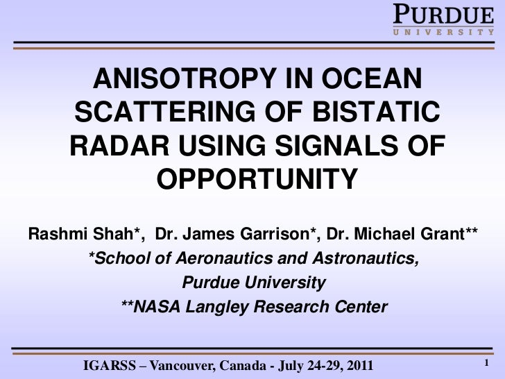 ANISOTROPY IN OCEAN SCATTERING OF BISTATIC RADAR USING SIGNALS OF OPPORTUNITY.ppt