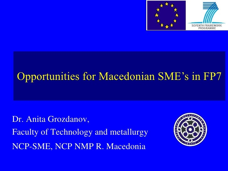 Opportunities for Macedonian SME's in FP7