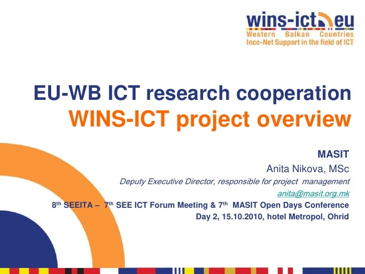 EU-WB ICT research cooperation      WINS-ICT project overview                                                             ...