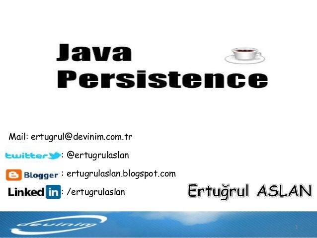 AnkaraJUG Nisan 2013 - Java Persistance API