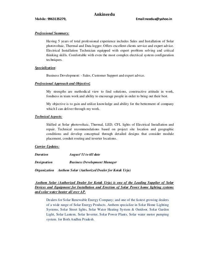 Ankineedu resume(Business Development: - Sales, Customer Support and …