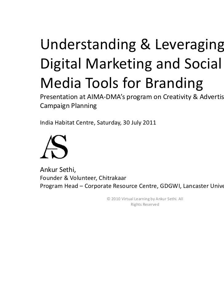 Understanding & Leveraging U d t di & L             iDigital Marketing and Social   g             gMedia Tools for Brandin...