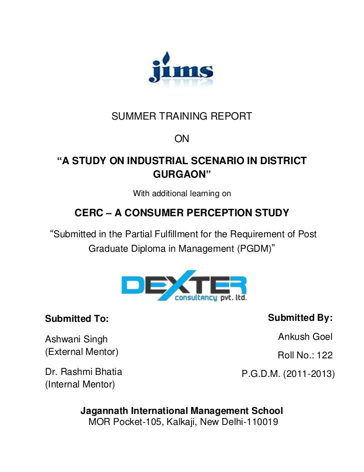 """SUMMER TRAINING REPORT                                ON  """"A STUDY ON INDUSTRIAL SCENARIO IN DISTRICT                  GUR..."""