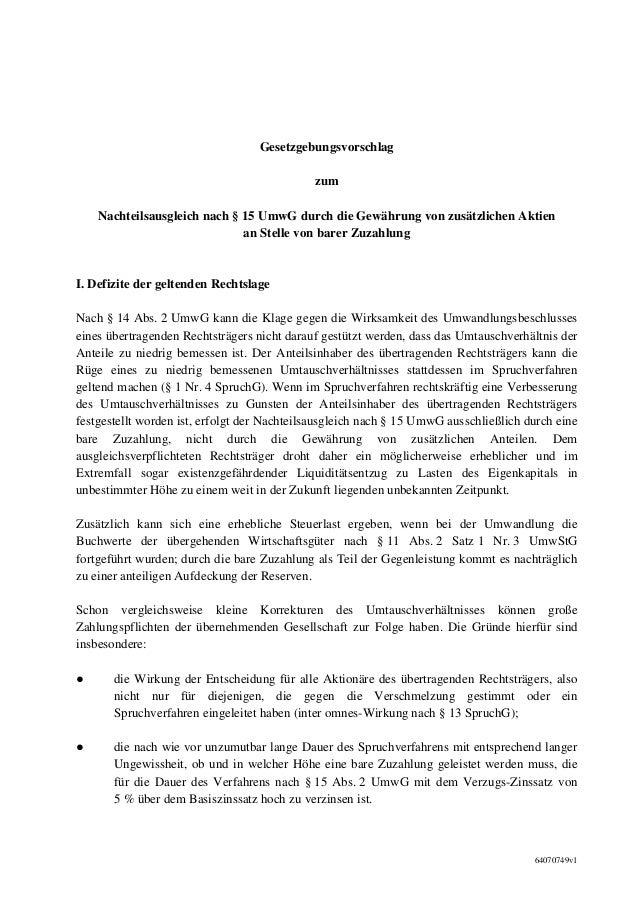 Gesetzgebungsvorschlag                                             zum    Nachteilsausgleich nach § 15 UmwG durch die Gewä...
