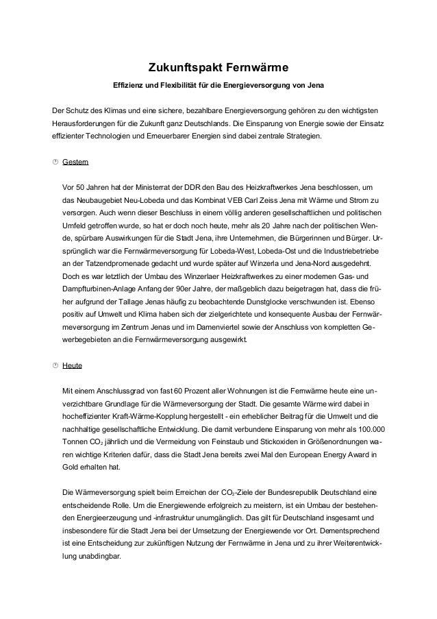 Zukunftspakt Fernwärme Effizienz und Flexibilität für die Energieversorgung von Jena Der Schutz des Klimas und eine sicher...