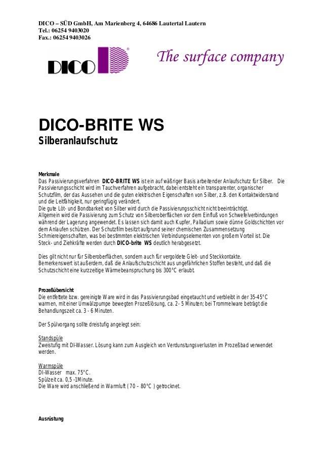 DICO – SÜD GmbH, Am Marienberg 4, 64686 Lautertal Lautern Tel.: 06254 9403020 Fax.: 06254 9403026 The surface company DICO...