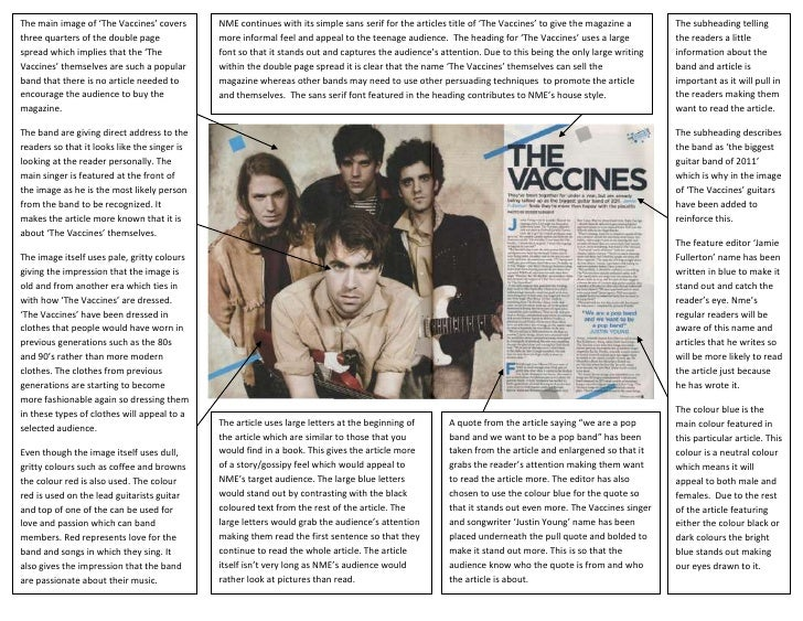 The main image of 'The Vaccines' covers       NME continues with its simple sans serif for the articles title of 'The Vacc...