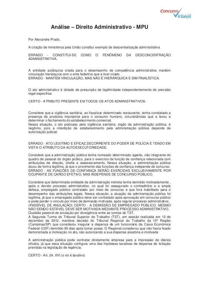 Análise- -  Direito Administrativo - MPU