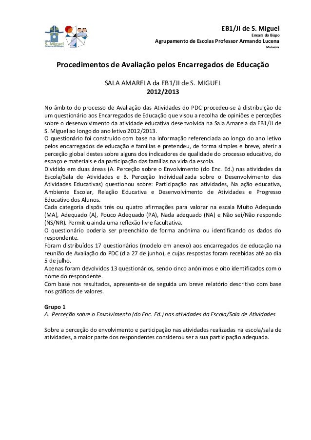 EB1/JI de S. Miguel Enxara do Bispo Agrupamento de Escolas Professor Armando Lucena Malveira Procedimentos de Avaliação pe...