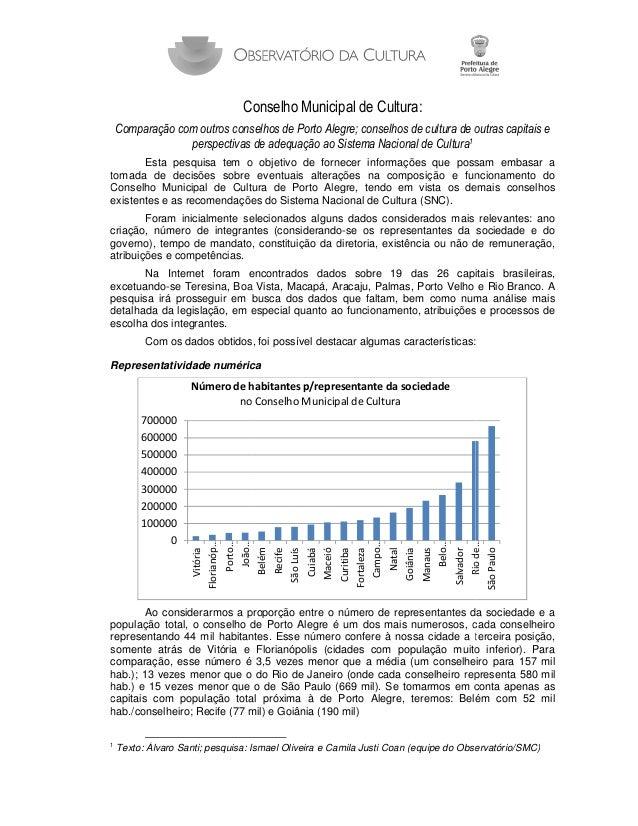 C Conselho Municipal de Cultura: Comparação com outros conselhos de Porto Alegre conselhos de cultura de outras capitais e...