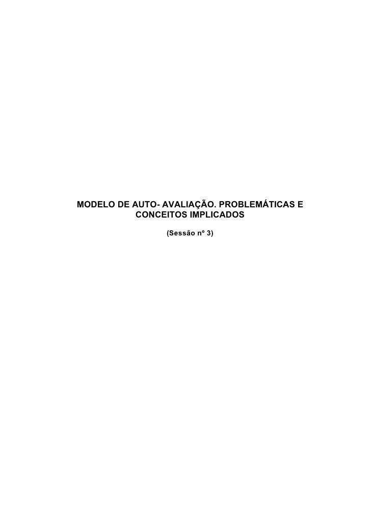MODELO DE AUTO- AVALIAÇÃO. PROBLEMÁTICAS E            CONCEITOS IMPLICADOS                  (Sessão nº 3)