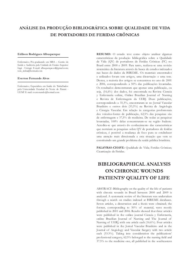 Análise da produção bibliográfica sobre qualidade de vida