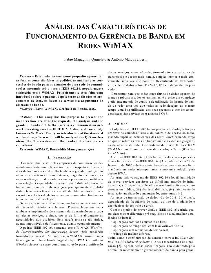 Análise das Características de Funcionamento da Gerência de Banda em Redes Wimax