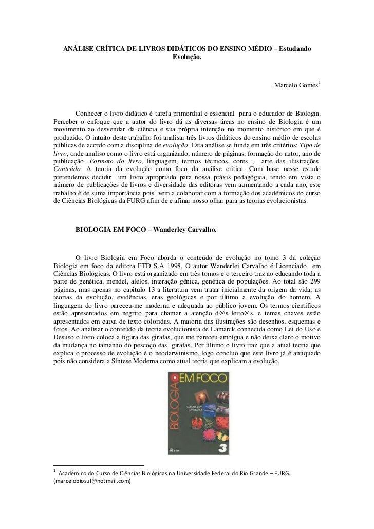 Análise de livros didáticos de biologia