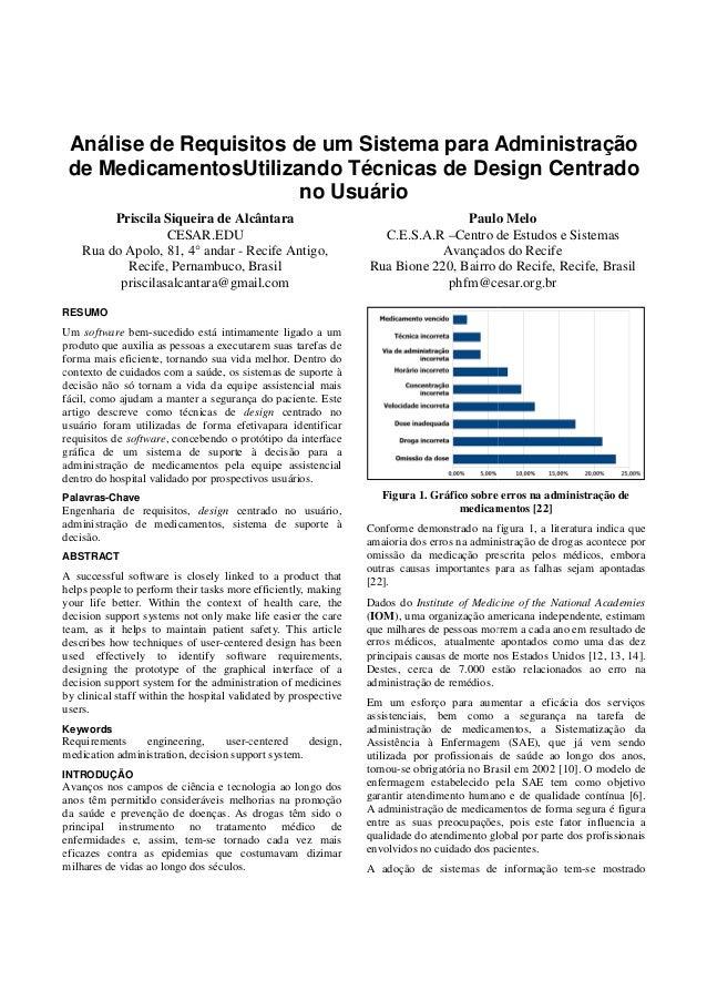 Análise de Requisitos de um Sistema para Administração de MedicamentosUtilizando Técnicas de Design Centrado Utilizando no...