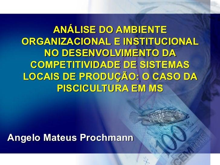 ANÁLISE DO AMBIENTE  ORGANIZACIONAL E INSTITUCIONAL     NO DESENVOLVIMENTO DA   COMPETITIVIDADE DE SISTEMAS  LOCAIS DE PRO...