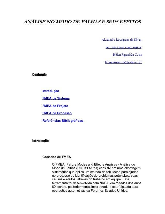 ANÁLISE NO MODO DE FALHAS E SEUS EFEITOS                                               Alexandre Rodrigues da Silva       ...