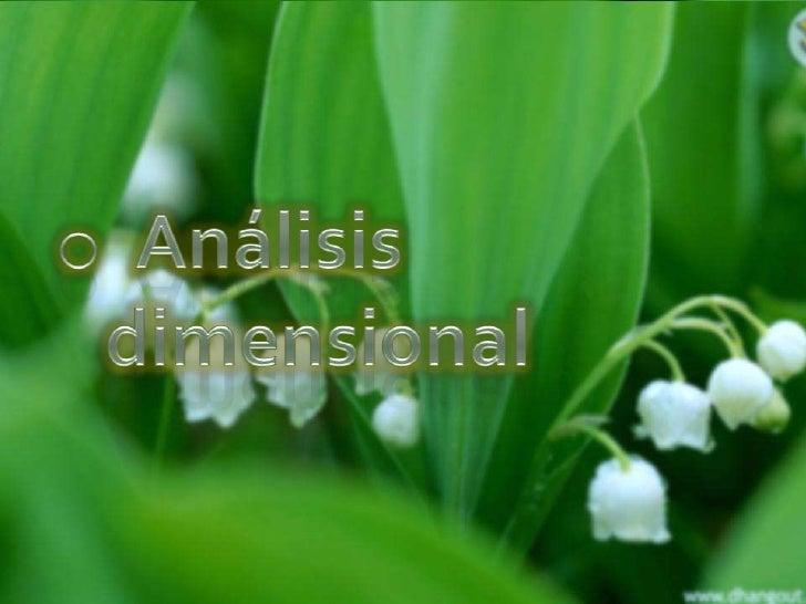 <ul><li>  Análisis dimensional</li></li></ul><li>Dimensión<br />significa la naturaleza física de una cantidad o magnitud....