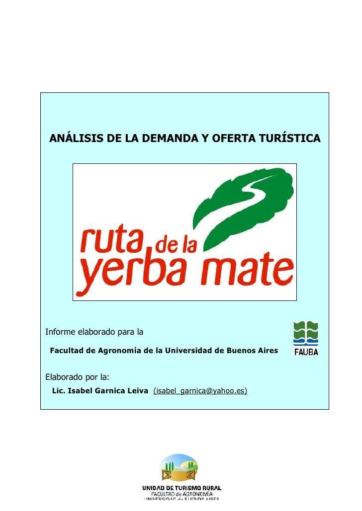 Análisis de Demanda y Oferta Turística de la Ruta de la Yerba Mate