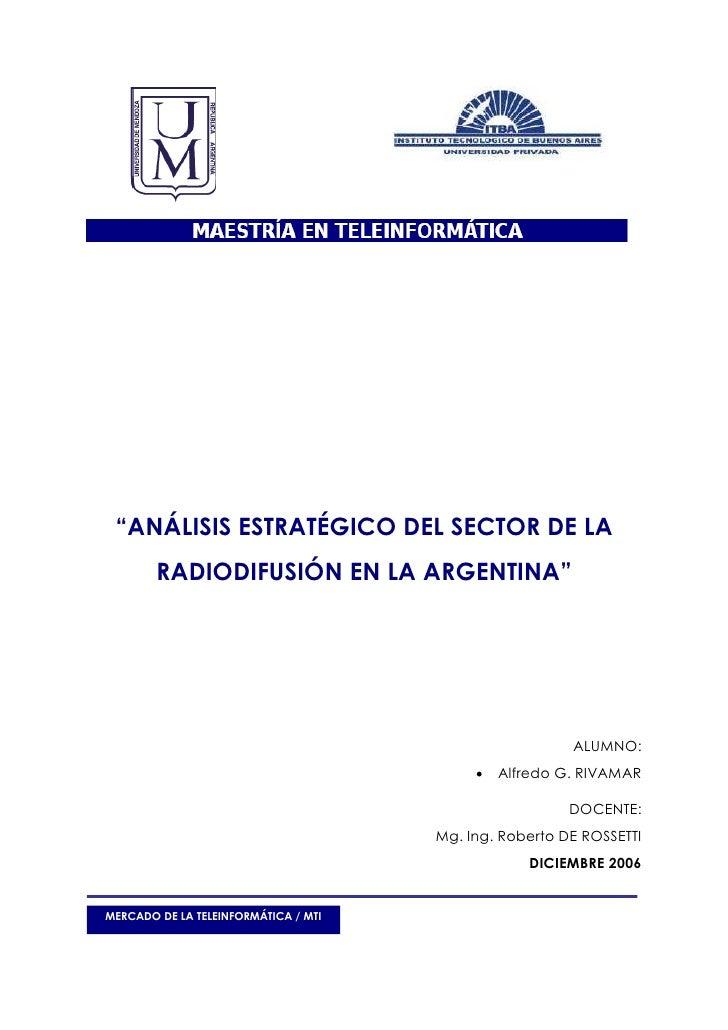 AnáLisis EstratéGico Sector RadiodiifusióN Argentina
