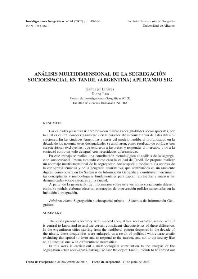 Investigaciones Geográficas, nº 44 (2007) pp. 149-166                    Instituto Universitario de GeografíaISSN: 0213-469...