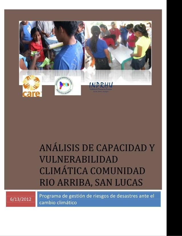 Programa de gestión de riesgos de desastres ante el cambio climático  6/13/2012