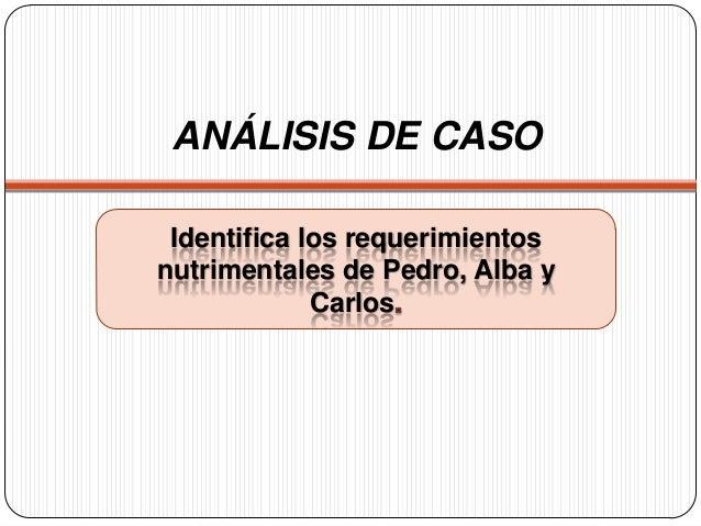 ANÁLISIS DE CASO Identifica los requerimientos nutrimentales de Pedro, Alba y Carlos