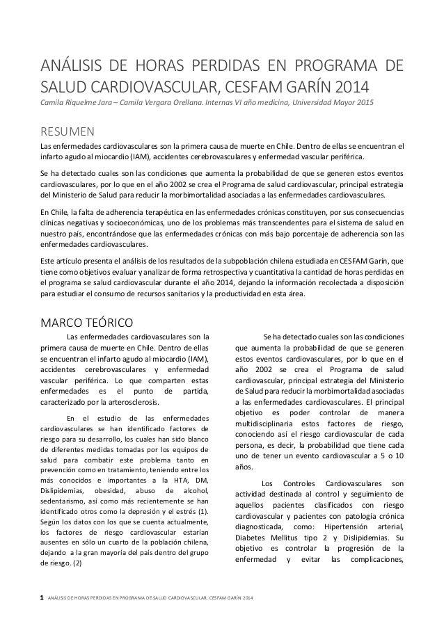 1 ANÁLISIS DE HORAS PERDIDAS EN PROGRAMA DE SALUD CARDIOVASCULAR, CESFAM GARÍN 2014 ANÁLISIS DE HORAS PERDIDAS EN PROGRAMA...