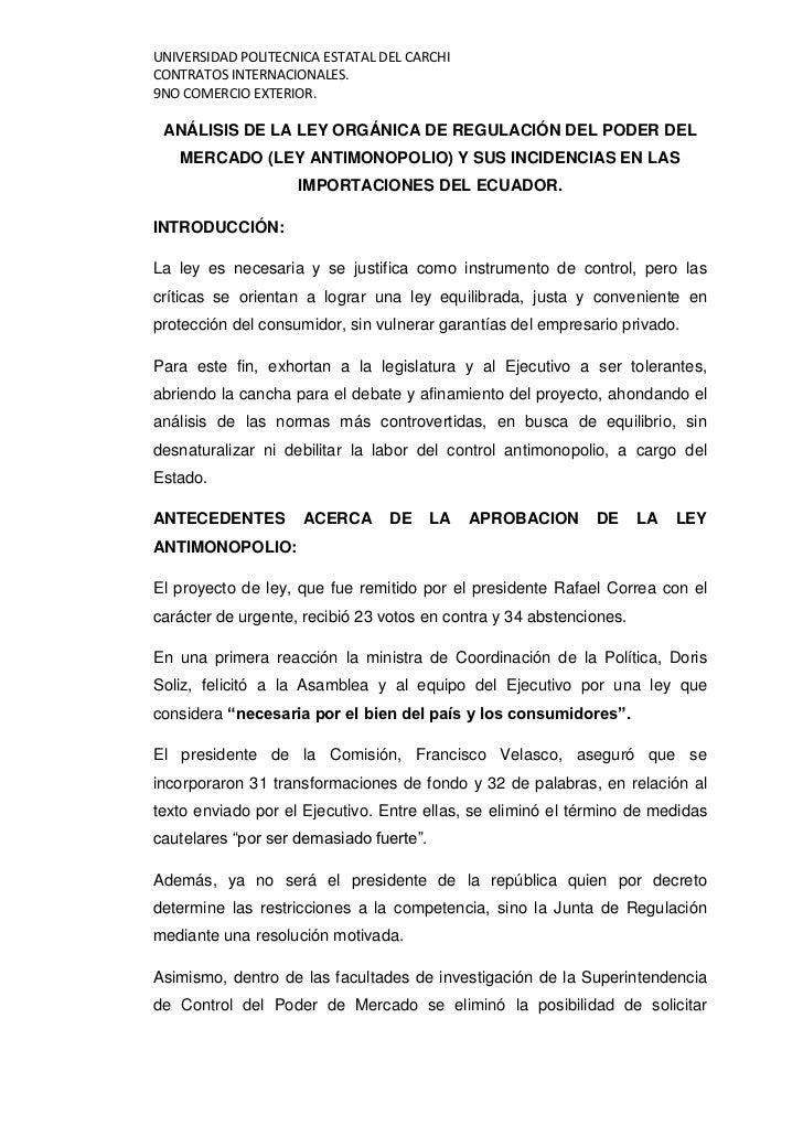 UNIVERSIDAD POLITECNICA ESTATAL DEL CARCHICONTRATOS INTERNACIONALES.9NO COMERCIO EXTERIOR. ANÁLISIS DE LA LEY ORGÁNICA DE ...