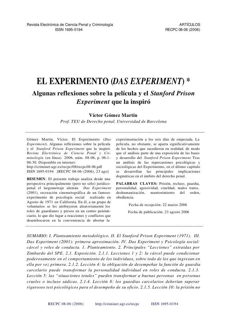 Revista Electrónica de Ciencia Penal y Criminología                                          ARTÍCULOS                 ISS...