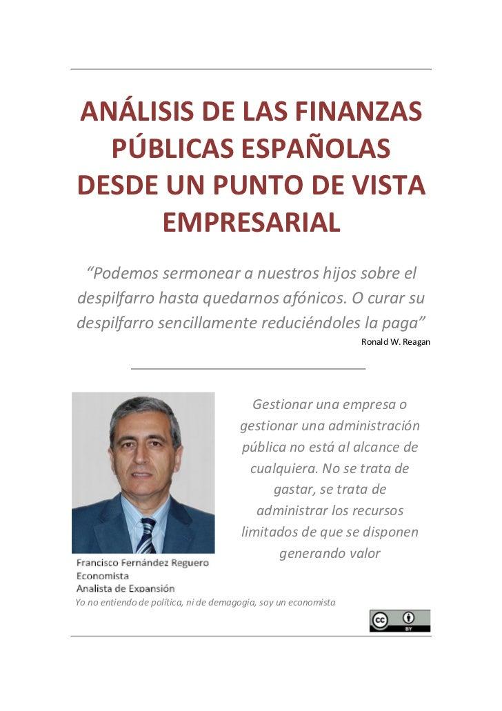 Análisis de las Finanzas Públicas Españolas desde un punto de vista empresarial