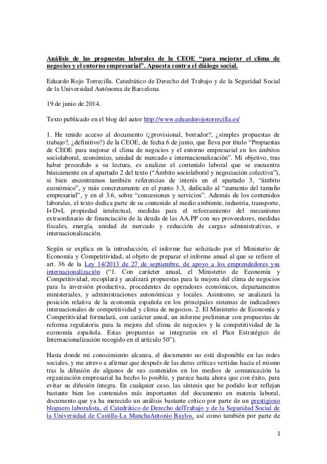 """1 Análisis de las propuestas laborales de la CEOE """"para mejorar el clima de negocios y el entorno empresarial"""". Apuesta co..."""