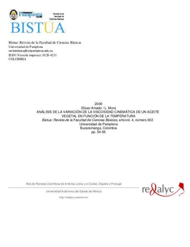 Bistua: Revista de la Facultad de Ciencias BásicasUniversidad de Pamplonarevistabistua@unipamplona.edu.coISSN (Versión imp...