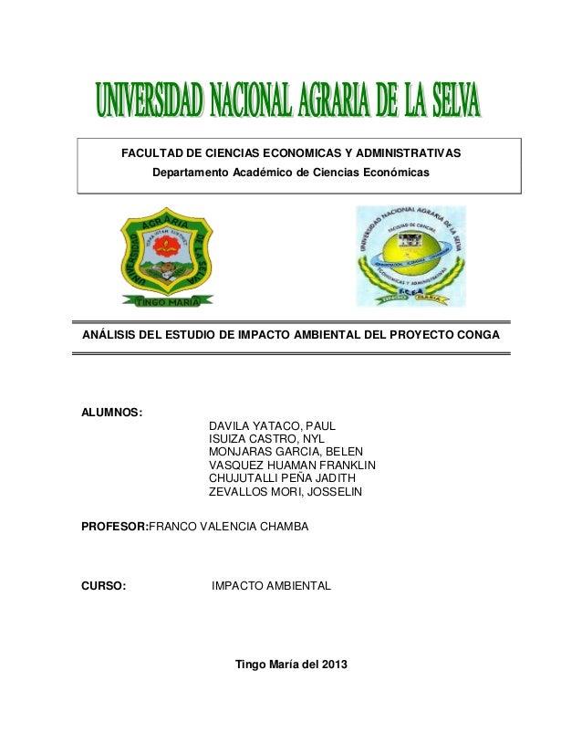 FACULTAD DE CIENCIAS ECONOMICAS Y ADMINISTRATIVAS Departamento Académico de Ciencias Económicas  ANÁLISIS DEL ESTUDIO DE I...