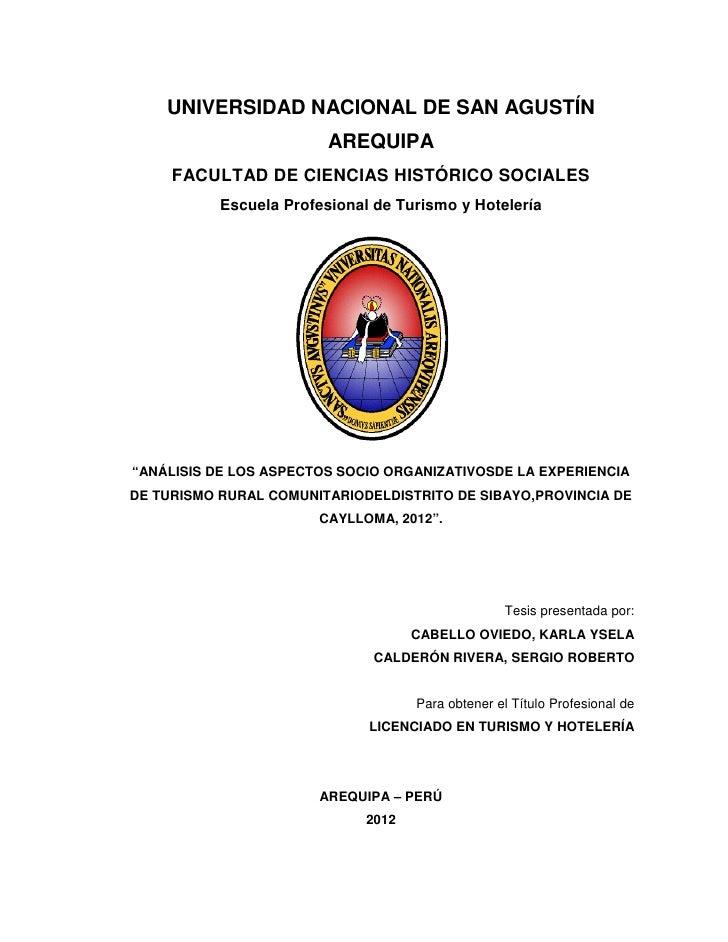 UNIVERSIDAD NACIONAL DE SAN AGUSTÍN                         AREQUIPA     FACULTAD DE CIENCIAS HISTÓRICO SOCIALES          ...