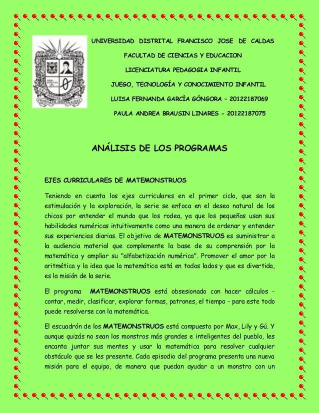 UNIVERSIDAD DISTRITAL FRANCISCO JOSE DE CALDAS FACULTAD DE CIENCIAS Y EDUCACION LICENCIATURA PEDAGOGIA INFANTIL JUEGO, TEC...