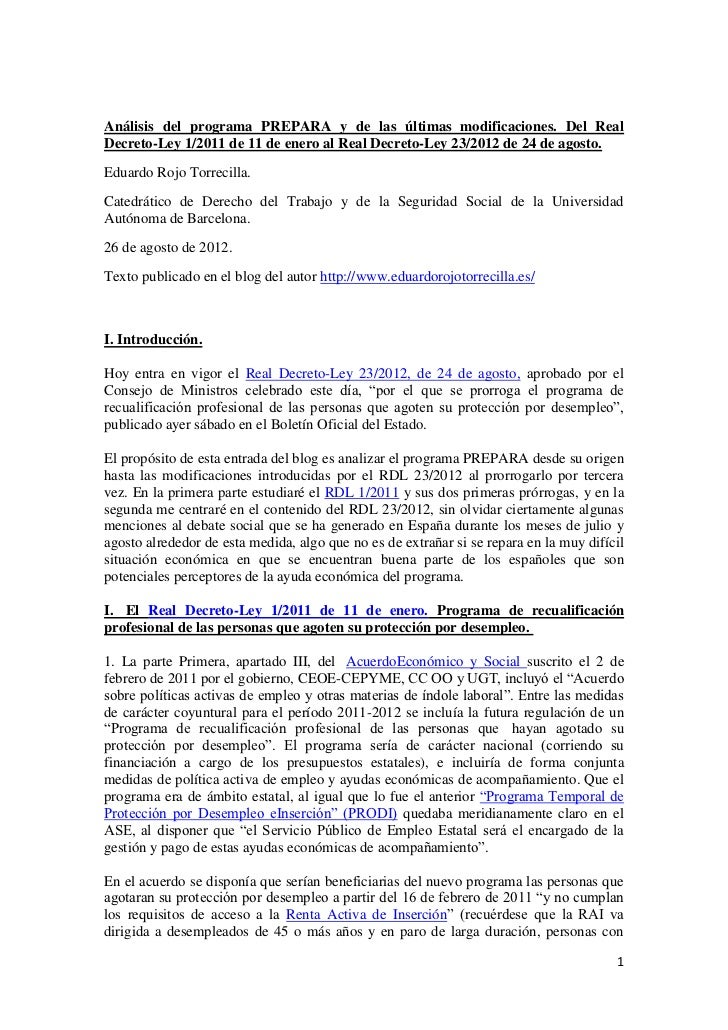 Análisis del programa PREPARA y de las últimas modificaciones. Del Real Decreto-Ley 1/2011, de 11 de enero, al Real Decreto-Ley 23/2012, de 24 de agosto.