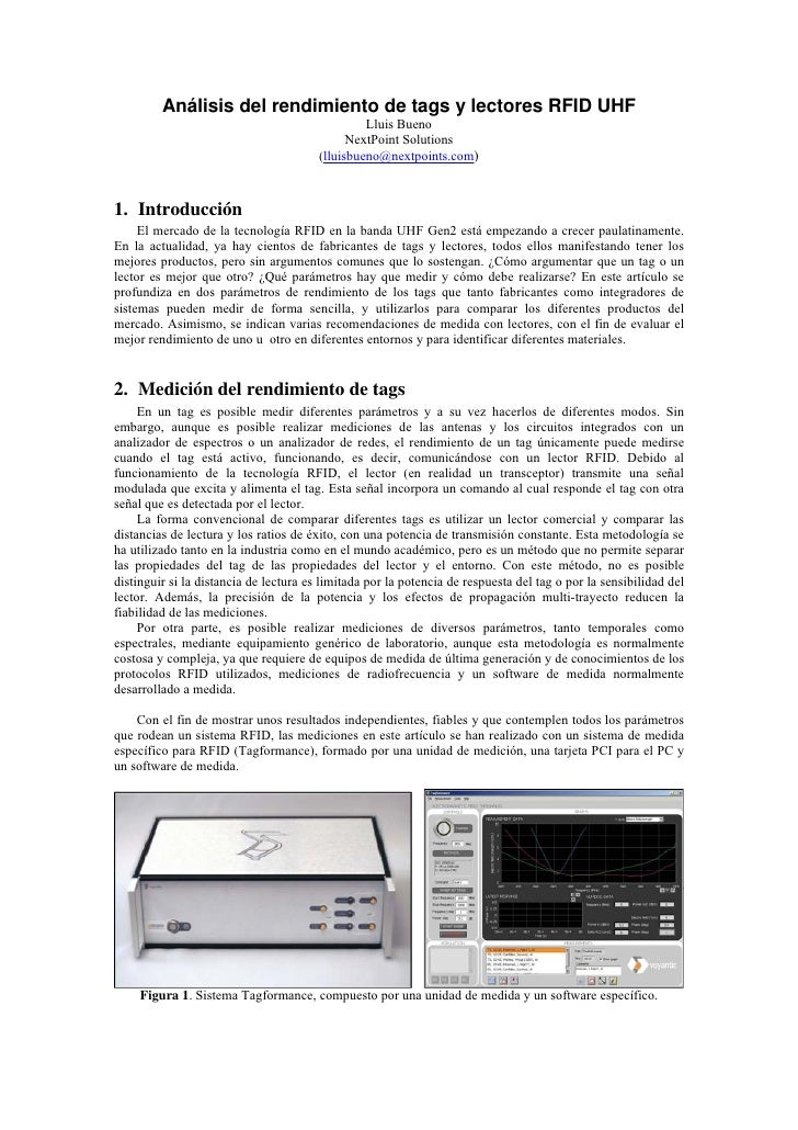 Análisis del rendimiento de tags y lectores RFID UHF                                                  Lluis Bueno         ...
