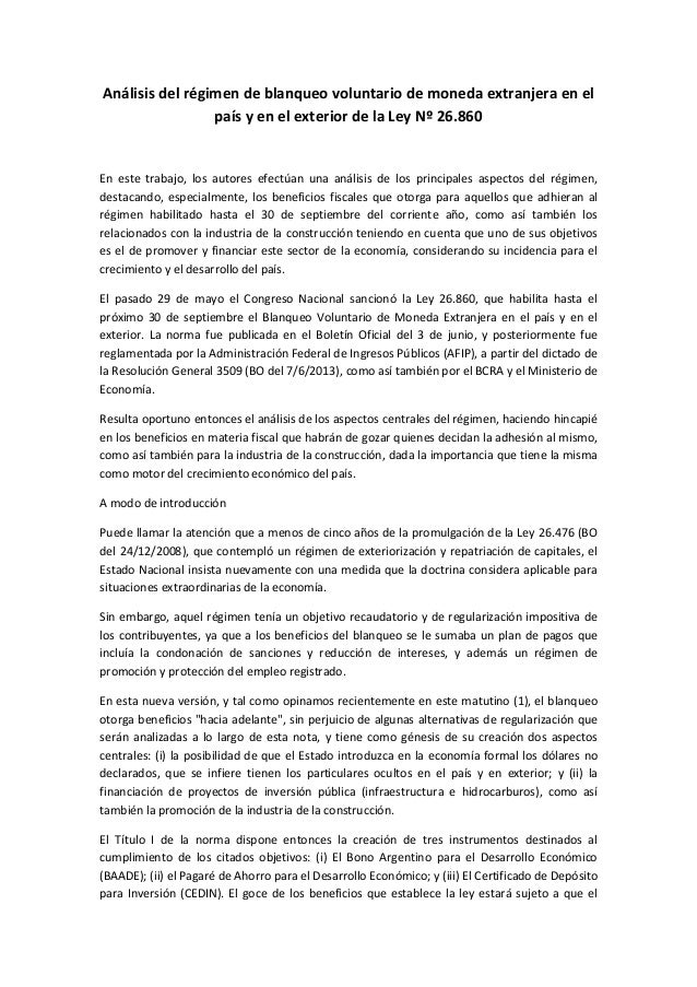 Análisis del régimen de blanqueo voluntario de moneda extranjera en el país y en el exterior de la ley nº 26.860