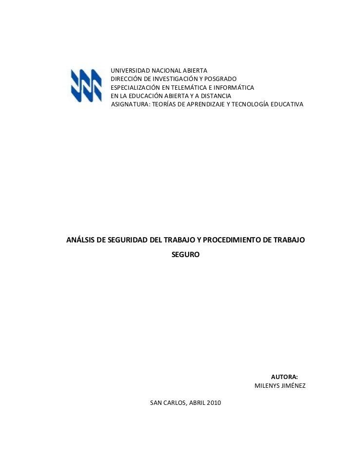 UNIVERSIDAD NACIONAL ABIERTA           DIRECCIÓN DE INVESTIGACIÓN Y POSGRADO           ESPECIALIZACIÓN EN TELEMÁTICA E INF...