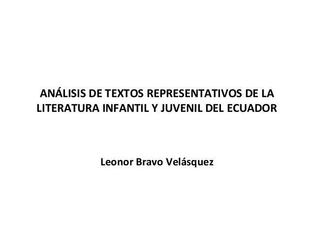 Análisis de textos representativos de la literatura infantil