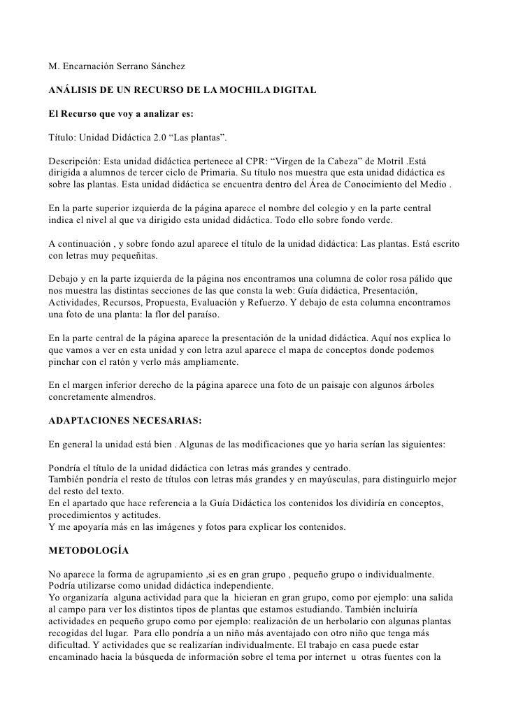 M. Encarnación Serrano Sánchez  ANÁLISIS DE UN RECURSO DE LA MOCHILA DIGITAL  El Recurso que voy a analizar es:  Título: U...